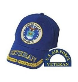 Air Force Veteran Hat with Seal and with Veteran/Wheat on Bill Royal Blue