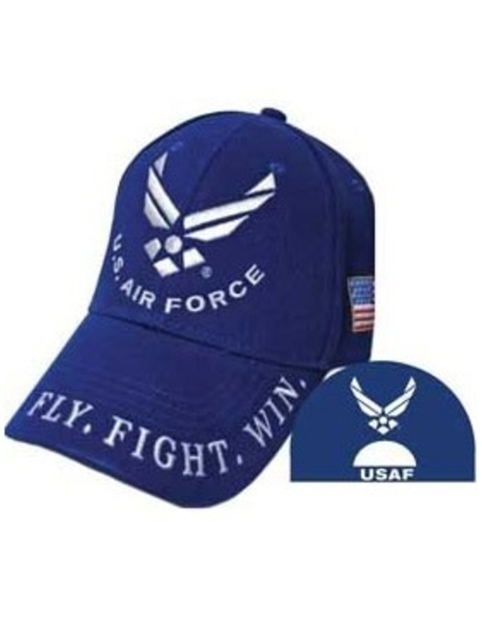 """MidMil Air Force Veteran Hat with Wings Emblem and on Bill """"Fly, Fight, Win"""" Dark Blue"""