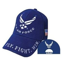 "Air Force Veteran Hat with Wings Emblem and on Bill ""Fly, Fight, Win"" Dark Blue"