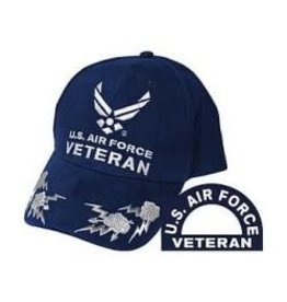 Air Force Veteran Hat with Wing Emblem and  Lightning Bolts Dark Blue