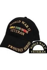 MidMil World War II Veteran Hat with Ribbons Black