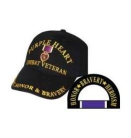 MidMil Purple Heart Combat Veteran Hat with Medal Emblem Black