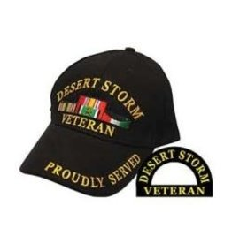 Desert Storm Veteran Hat with Ribbons Including Kuwait Black