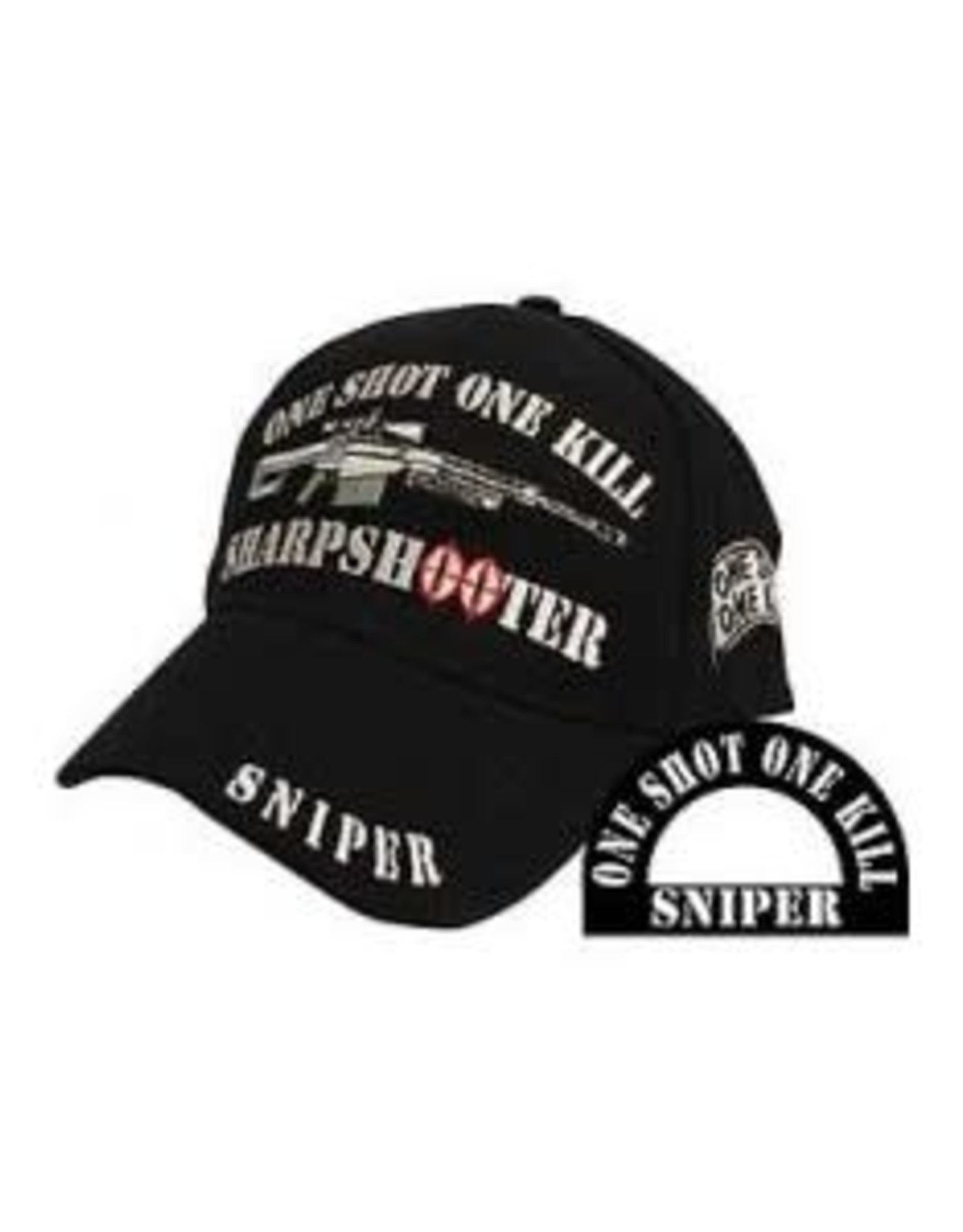 MidMil Sniper Sharpshooter Hat with Rifle and Motto Black