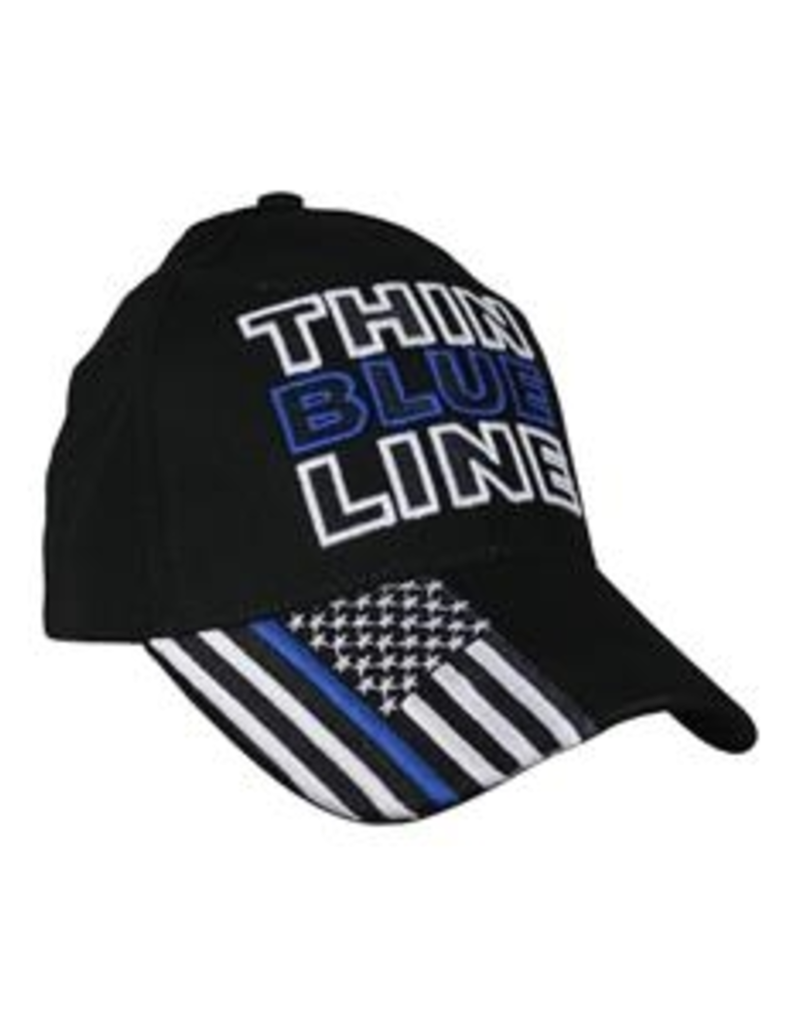 MidMil Thin Blue Line Hat with Flag with Blue Line on Bill Black