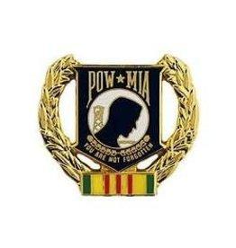 "MidMil POW*MIA  Pin with Vietnam Ribbon and Wreath 1 1/8"""