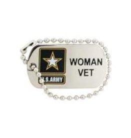 "MidMil Army Star Woman Vet Dog Tag Pin 1 1/4"""