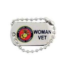 "MidMil Marine Corps Seal Dog Tag Woman Vet Pin 1 1/4"""