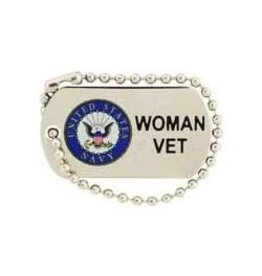 Navy Seal Woman Vet Dog Tag Pin 1 1/4""