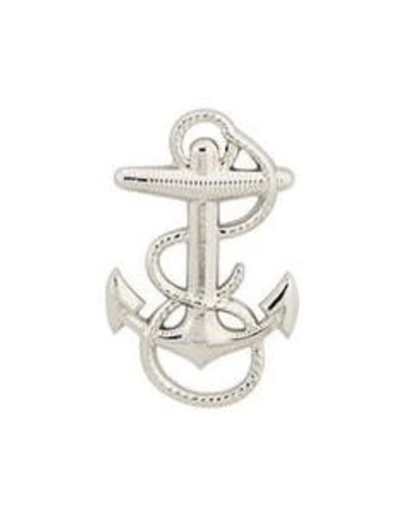"""MidMil Navy Fouled Anchor Pin 1 1/8"""" Silver"""