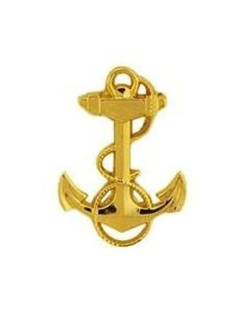 """MidMil Navy Fouled Anchor Pin 1 1/8"""" Gold"""
