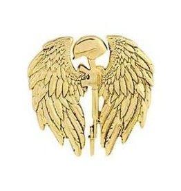 "Fallen Soldier Memorial with Wings Pin 1 1/8"""