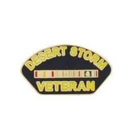 "MidMil Desert Storm Veteran with Ribbons Pin 1 1/4"""