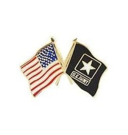 MidMil American and Army Star Flags Pin 1""