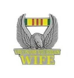 """Vietnam Veteran Wife Pin with Eagle and Service Ribbon 1"""""""