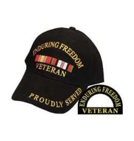 MidMil Enduring Freedom Veteran Hat with Ribbons Proudly Served Black