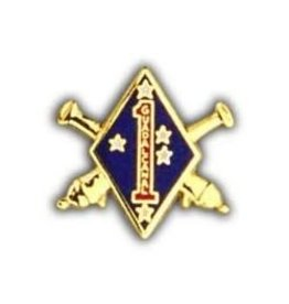 """MidMil Marine Corps 1st Artillery Pin 1 1/8"""""""