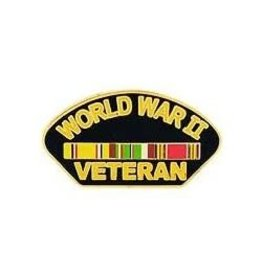 MidMil WWII Veteran Pin with Ribbons 1 1/4""