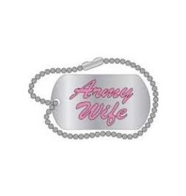MidMil Army Wife Text Miniature Dogtag Pin 1 1/4""