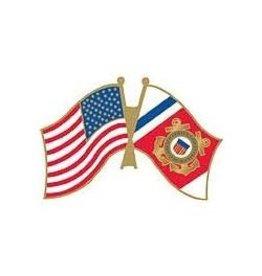 "Coast Guard and American Flags Pin 1 1/4"""