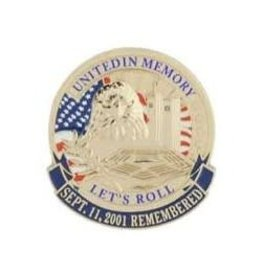 MidMil September 11th Remembered, United in Memory, Let's Roll Pin 1 1/8""