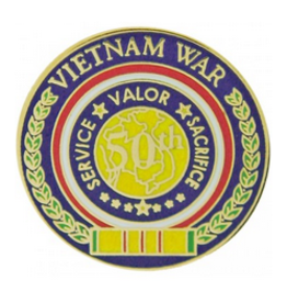 50th Anniversary Vietnam War Pin Service Valor Sacrifice 7/8""
