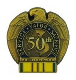 50th Anniversary Pin with Vietnam Service Ribbon 1 1/4""