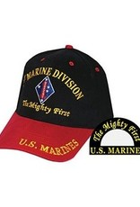 MidMil Marine Corps 1st Division Emblem Hat  Black/Red Bill