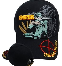 MidMil Marine Sniper Hat with Crosshairs on Bill Black
