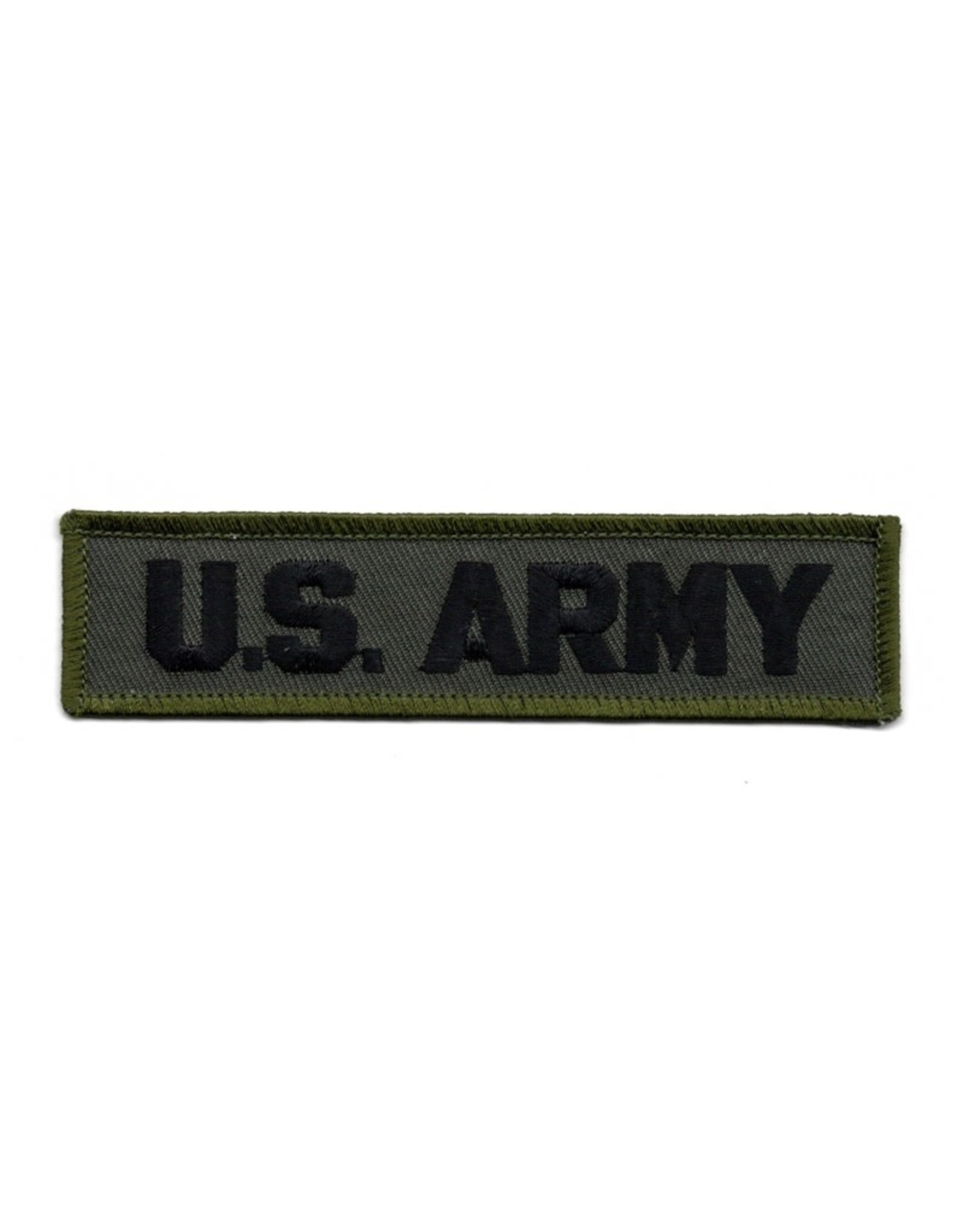 "MidMil Embroidered Subdued U. S. Army Patch 4.6"" wide x 1.1"" high Black on Olive Drab"