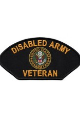 """MidMil Embroidered Disabled Army Veteran Patch 6"""" wide x 3.1"""" high Black"""