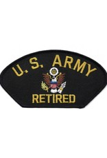 "MidMil Embroidered U. S. Army Retired Patch with Emblem  5.2"" wide x 2.8"" high Black"
