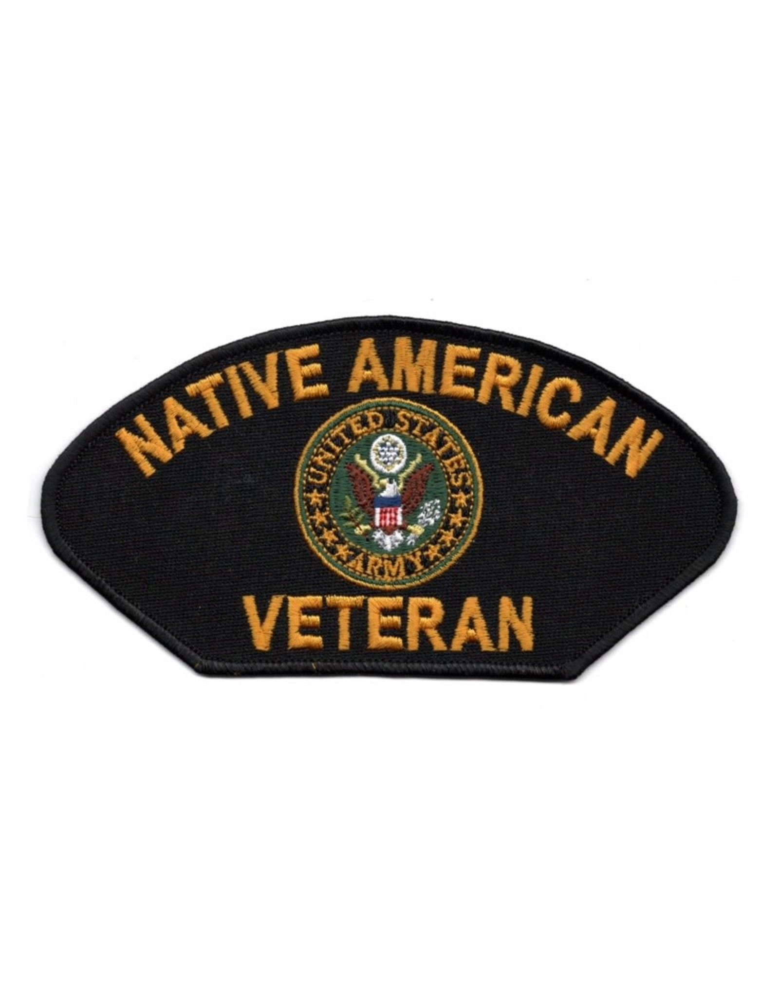 """MidMil Embroidered Native American Army Veteran Patch with Army Emblem 6"""" wide x 3.1"""" high"""