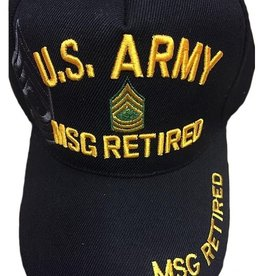 MidMil U.S. Army MSG Retired Hat with Rank Insignia and Shadow Black