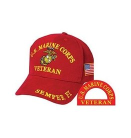 MidMil Marine Corps Veteran Hat with Globe and Anchor Red