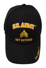 MidMil U.S. Army SGT Retired Hat with Rank Insignia Black