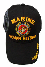 MidMil Marine Woman Veteran Hat with Seal Black