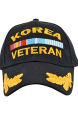 "MidMil Korea Veteran Hat with Oak Leaf ""Eggs"" on Bill Black"