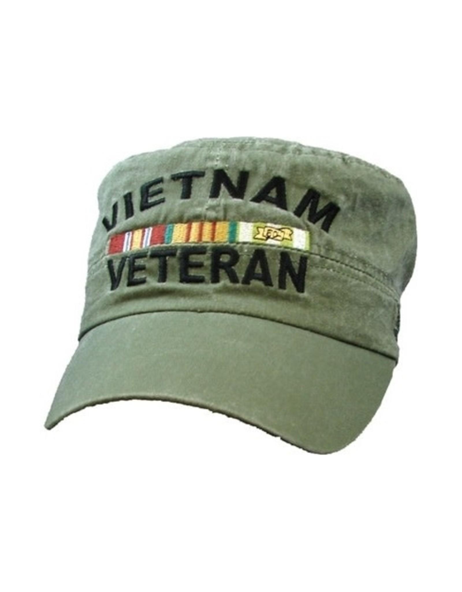 MidMil Vietnam Veteran Flat Top Hat with Ribbons Olive Drab