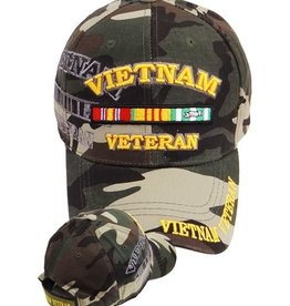 MidMil Vietnam Veteran Hat with Ribbons and Shadow Woodland Camo