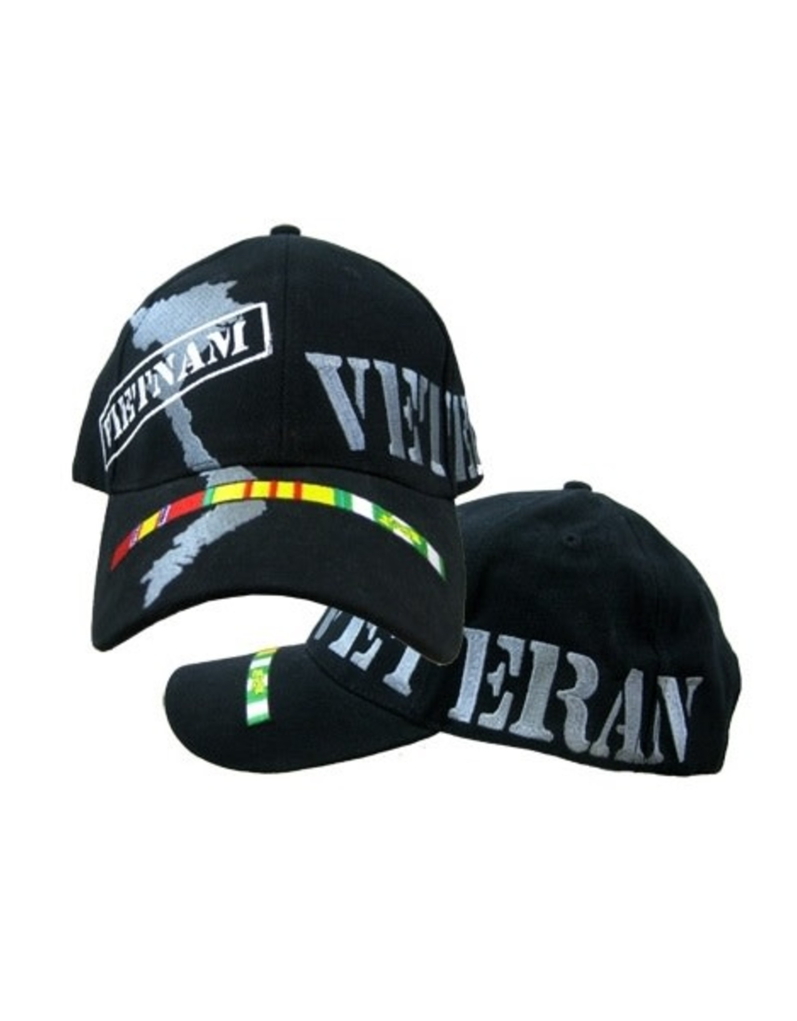 MidMil Vietnam Veteran Hat with Country Map and Ribbons Black