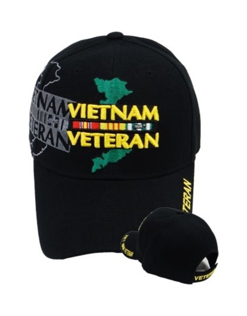 MidMil Vietnam Veteran Hat with Country Map and  Shadow Black