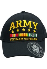 MidMil Army Vietnam Veteran Hat with Ribbons and Seal on Bill Black