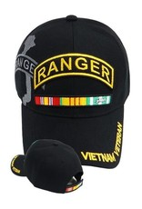 MidMil Vietnam Veteran Army Ranger Hat with Ribbons and Shadow Black