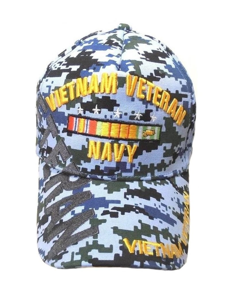 MidMil Navy Vietnam Veteran Hat with Ribbons and Shadow on Blue DigiCam