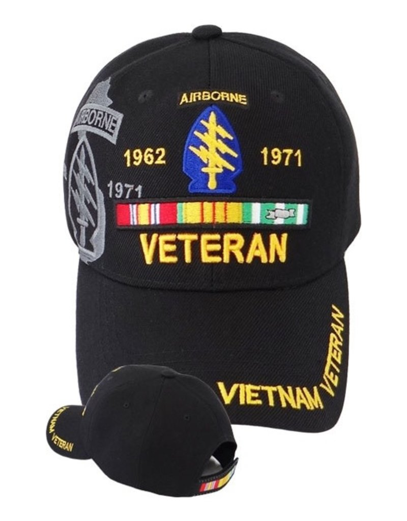 MidMil Vietnam Veteran Army Special Forces Hat with Emblem Shadow and Ribbons Black