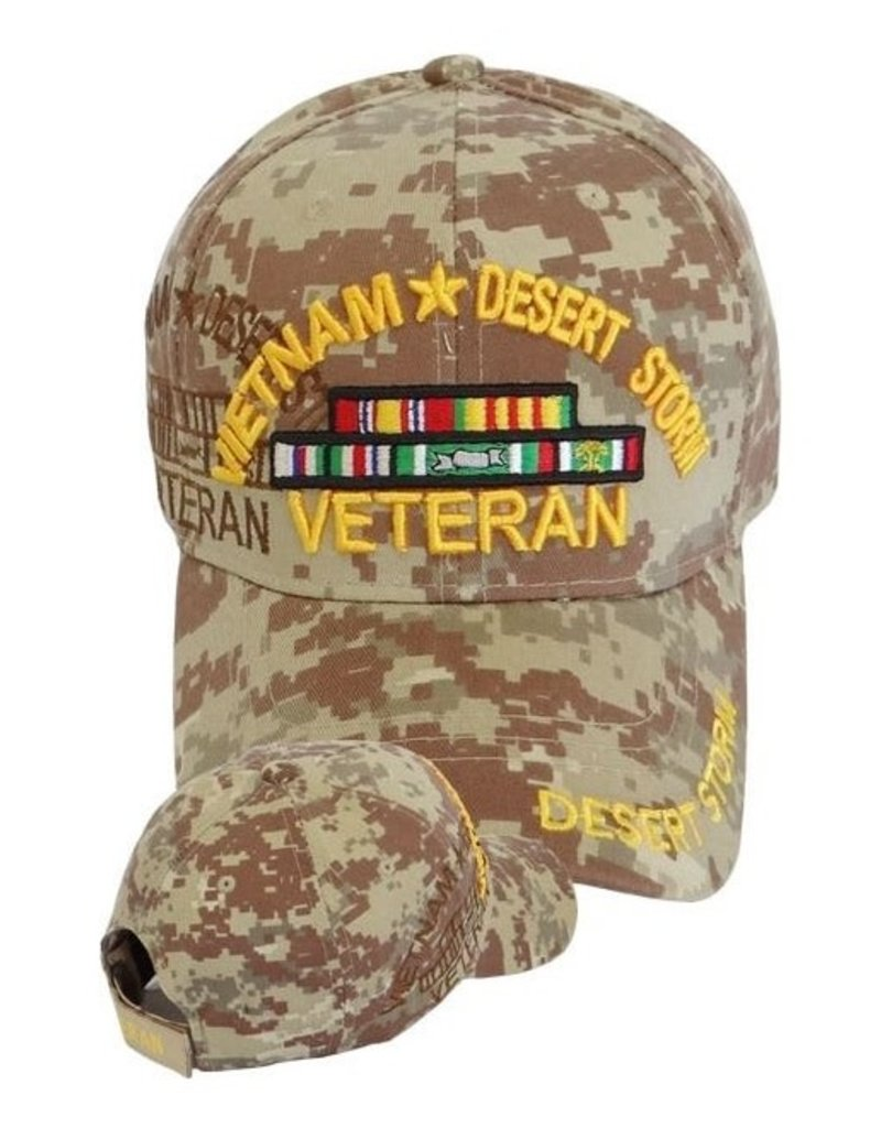 MidMil Vietnam-Desert Storm Veteran Hat with Ribbons and  Shadow Desert Digicam