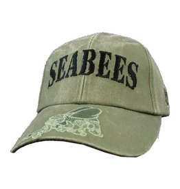 Navy Seabees Hat with Subdued Emblem on Bill Olive Drab