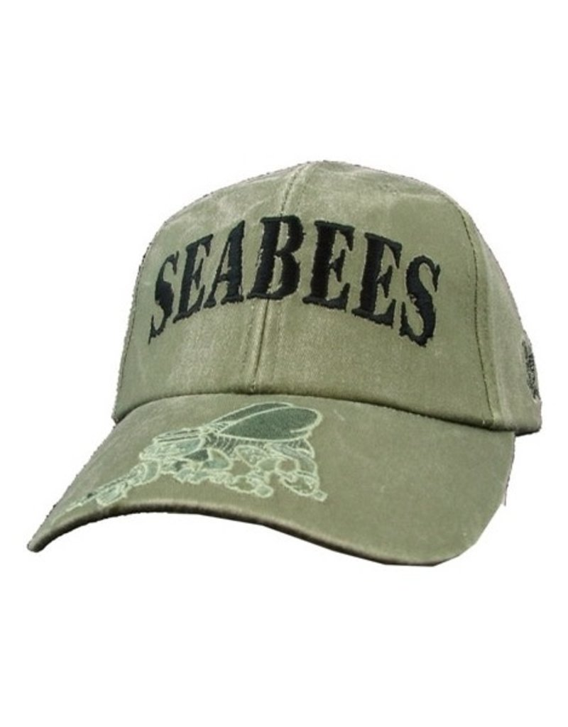 MidMil Navy Seabees Hat with Subdued Emblem on Bill Olive Drab