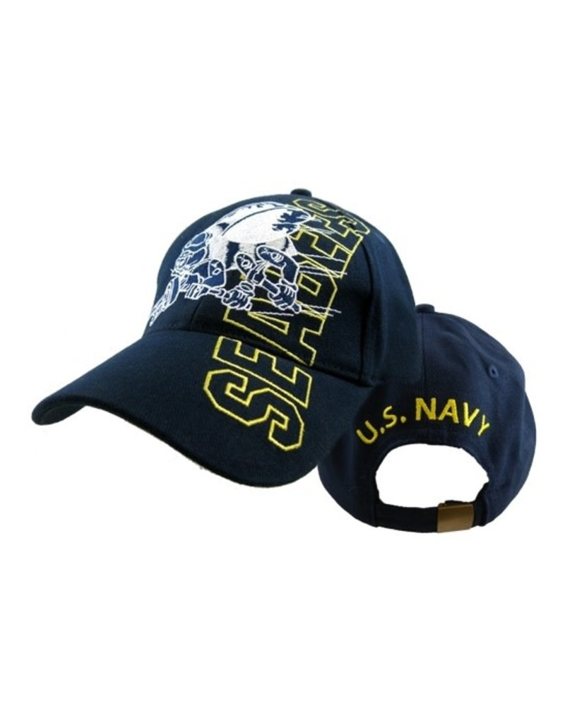 MidMil Navy Seabees Hat with Emblem Dark Blue